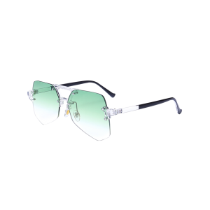 Geometrical Rimless Ombre Transparent Sunglasses