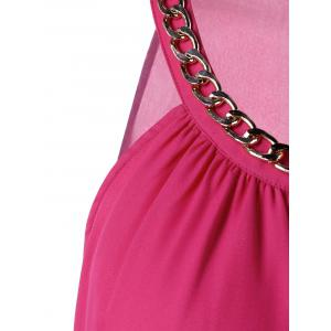 Overlap Chain Embellished Cut Out Tank Top -
