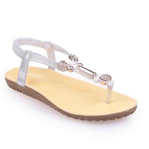 Faux Leather Elastic Beads Sandals - Silver - 37