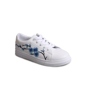 Faux Leather Embroidery Athletic Shoes - Windsor Blue - 37