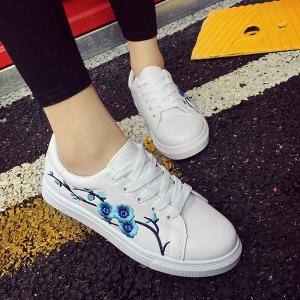 Faux Leather Embroidery Athletic Shoes - WINDSOR BLUE 37