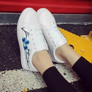 Faux Leather Embroidery Athletic Shoes -