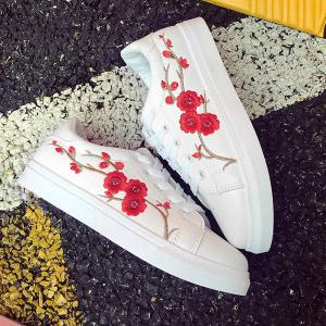 Faux Leather Embroidery Athletic Shoes - RED 37