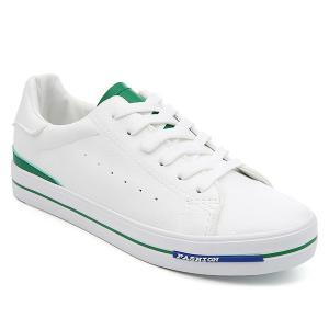 Faux Leather Colour Block Athletic Shoes - White And Green - 39