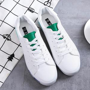 Faux Leather Colour Block Athletic Shoes - WHITE AND GREEN 39