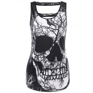 Lace Panel Cut Out Skull Tank Top - Black - M
