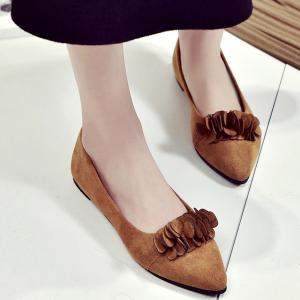 Pointed Toe Flowers Flat Shoes - Light Brown - 38
