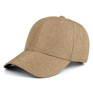 Curved Brim Outdoor Plain Baseball Hat - Khaki - One Size