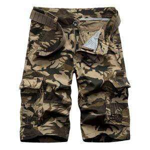 Zip Fly Pockets Camo Cargo Shorts - Khaki - 30