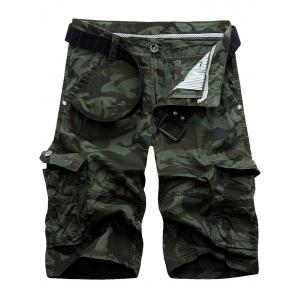 Zip Fly Pockets Camo Cargo Shorts