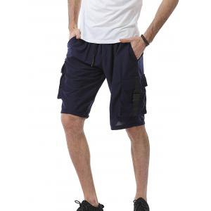 Plastic Buckle Drawstring Pockets Design Sweat Shorts - Deep Blue - 3xl