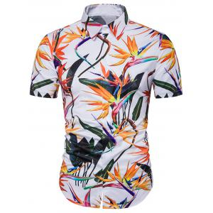 Cover Placket Colorful 3D Floral Print Hawaiian Shirt