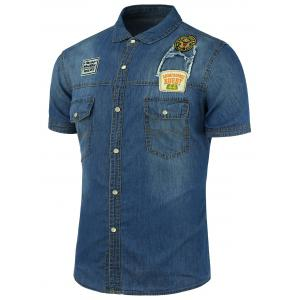 Badge Design Short Sleeve Denim Shirt