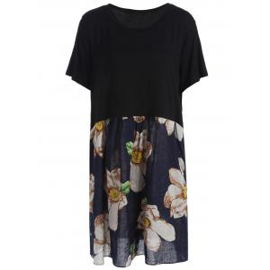 Plus Size Knee Length Floral Print Dress