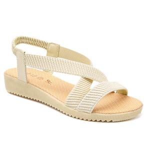 Elastic Band Cross Strap Sandals - Off-white - 37