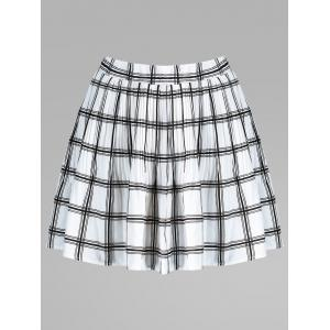 Plaid Pleated Elastic Waist Skirt - White - Xl