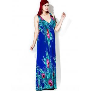 Plus Size Floor Length Feather Print Dress - BLUE 5XL