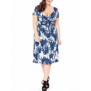 Plus Size Palm Tree Printed Midi Surplice Dress