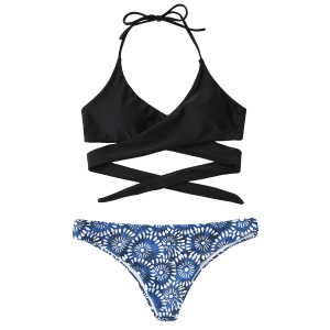 Boho Wrap Bikini Top and Printed Bottoms - BLUE AND BLACK M