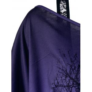 Lace Panel Skew Collar Tree Print T-Shirt - BLUE VIOLET M