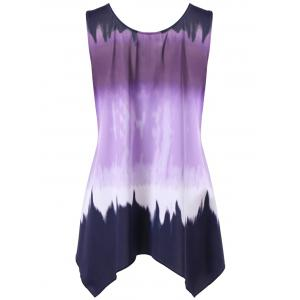 Plus Size Ombre Asymmetric Flowy Tank Top - PURPLE 3XL
