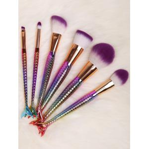 6 Pcs Multifunction Mermaid Shape Makeup Brush Set - DAZZLING