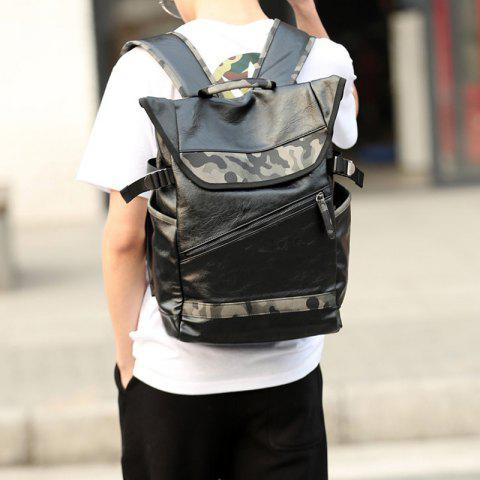 Fashion Faux Leather Camo Print Backpack - BLACK  Mobile