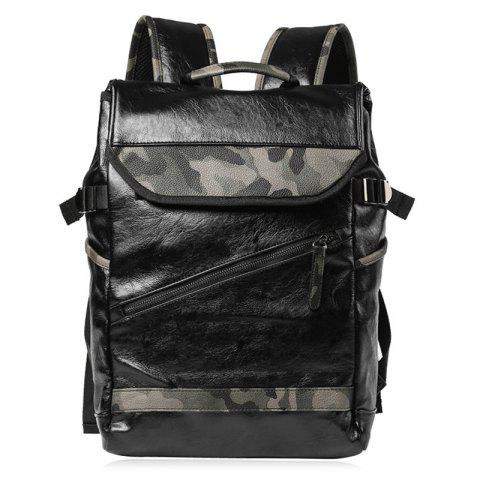 Shops Faux Leather Camo Print Backpack - BLACK  Mobile