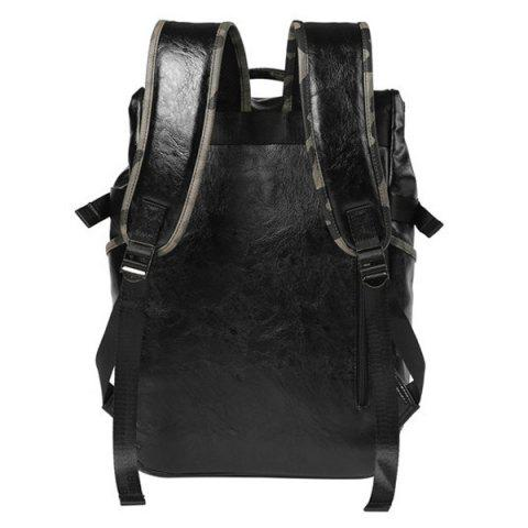 Outfit Faux Leather Camo Print Backpack - BLACK  Mobile