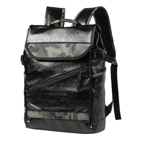 New Faux Leather Camo Print Backpack - BLACK  Mobile