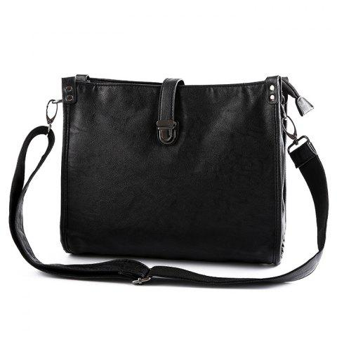 Chic Faux Leather Push Lock Crossbody Bag - BLACK  Mobile