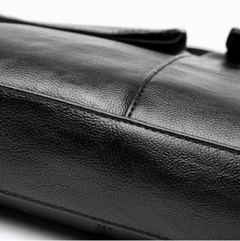 New Faux Leather Pocket Crossbody Bag - BLACK  Mobile