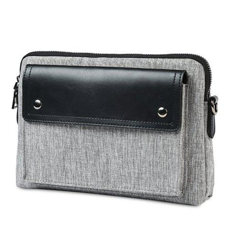 Hot Contrast PU Leather Clutch Bag - GRAY  Mobile