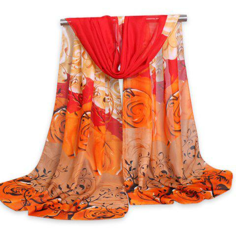 Gauze Fancy Cirrus Rose Printing Shawl Scarf - Jacinth - S