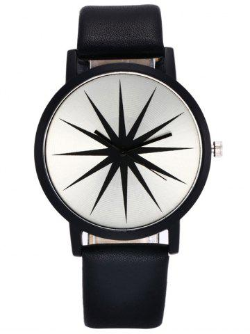 Chic Faux Leather Strap Star Quartz Watch - BLACK  Mobile