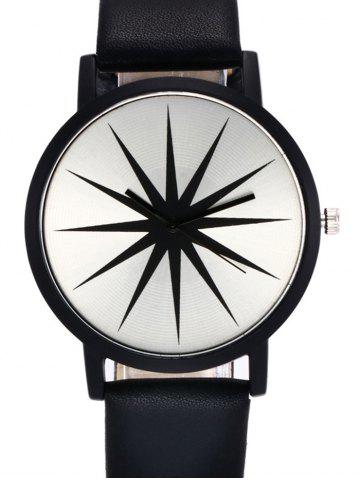 Shop Faux Leather Strap Star Quartz Watch - BLACK  Mobile