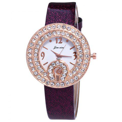 Buy Faux Leather Strap Rhinestone Number Watch