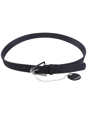 Shops Faux Leather Metal Link Trangle Buckle Belt BLACK