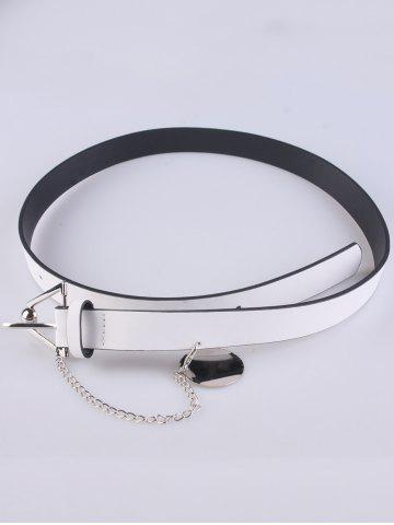 Trendy Faux Leather Metal Link Trangle Buckle Belt - WHITE  Mobile