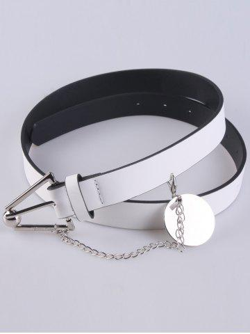 Buy Faux Leather Metal Link Trangle Buckle Belt - WHITE  Mobile