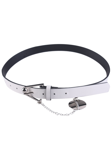 Outfit Faux Leather Metal Link Trangle Buckle Belt - WHITE  Mobile