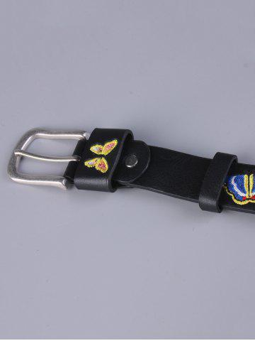 Fashion Pin Buckle Tiny Butterfly Embroidered Belt - BLACK  Mobile
