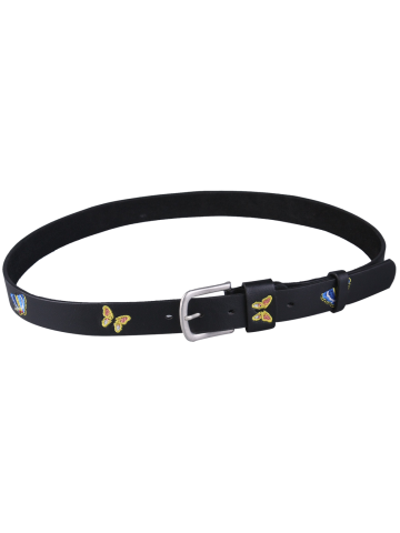 Chic Pin Buckle Tiny Butterfly Embroidered Belt - BLACK  Mobile