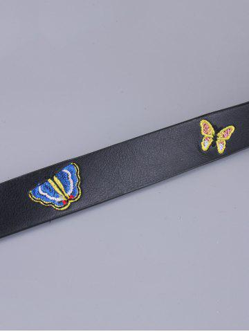 Hot Pin Buckle Tiny Butterfly Embroidered Belt - BLACK  Mobile