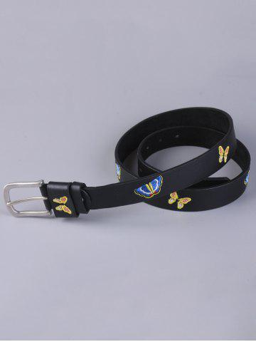 Buy Pin Buckle Tiny Butterfly Embroidered Belt - BLACK  Mobile