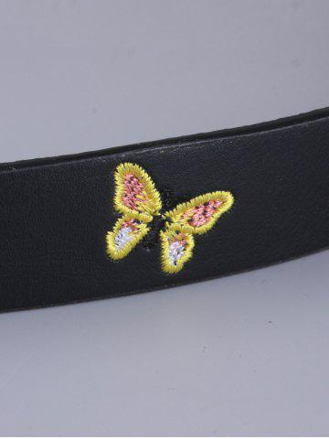 Shops Pin Buckle Tiny Butterfly Embroidered Belt - BLACK  Mobile