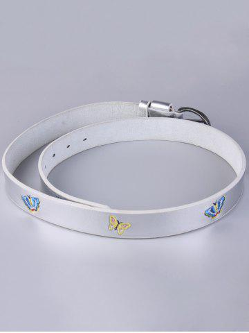 Buy Pin Buckle Tiny Butterfly Embroidered Belt - SILVER  Mobile