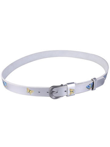 Trendy Pin Buckle Tiny Butterfly Embroidered Belt - SILVER  Mobile