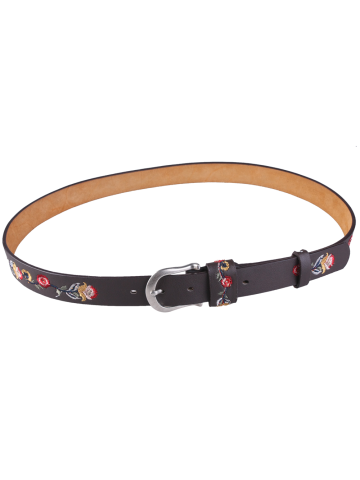 Buy Flower Embroidered Ethnic Faux Leather Belt COFFEE