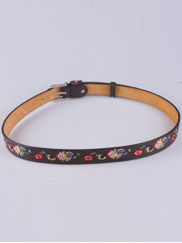 Hot Flower Embroidered Ethnic Faux Leather Belt - COFFEE  Mobile